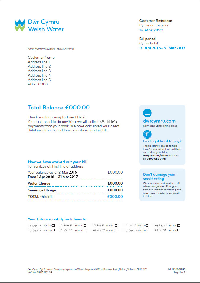 My Unmeasured Bill Explained About My Bill My Account Dwr - How to make a bill for services