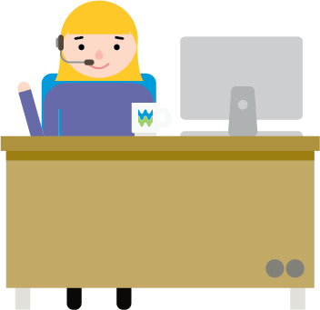An illustration of a woman sitting at a desk, with a headset, computer, and a welsh water mug